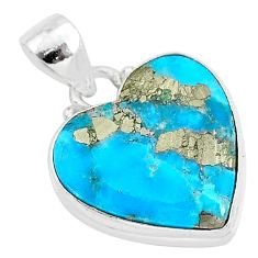 11.27cts blue turquoise pyrite 925 sterling silver heart pendant r95295