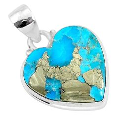 12.40cts blue turquoise pyrite 925 sterling silver heart pendant r95296