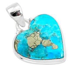 11.27cts blue turquoise pyrite 925 sterling silver heart pendant r95299