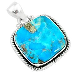 15.58cts blue turquoise pyrite 925 sterling silver pendant jewelry r95202