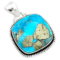 16.32cts blue turquoise pyrite 925 sterling silver pendant jewelry r95203
