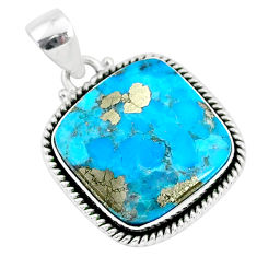 15.53cts blue turquoise pyrite 925 sterling silver pendant jewelry r95204