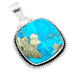 16.10cts blue turquoise pyrite 925 sterling silver pendant jewelry r95205