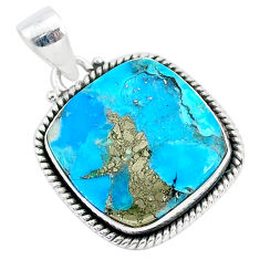 16.32cts blue turquoise pyrite 925 sterling silver pendant jewelry r95211
