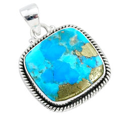16.43cts blue turquoise pyrite 925 sterling silver pendant jewelry r95217