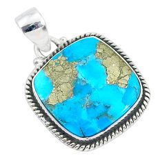 15.72cts blue turquoise pyrite 925 sterling silver pendant jewelry r95218
