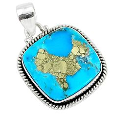 16.18cts blue turquoise pyrite 925 sterling silver pendant jewelry r95219
