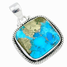 16.57cts blue turquoise pyrite 925 sterling silver pendant jewelry r95220