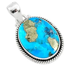 13.65cts blue turquoise pyrite 925 sterling silver pendant jewelry r95221