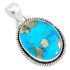 14.15cts blue turquoise pyrite 925 sterling silver pendant jewelry r95223