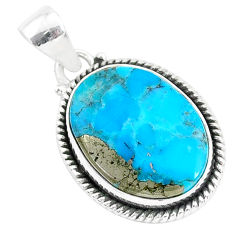 13.73cts blue turquoise pyrite 925 sterling silver pendant jewelry r95225