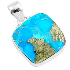 14.15cts blue turquoise pyrite 925 sterling silver pendant jewelry r95227