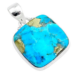 12.20cts blue turquoise pyrite 925 sterling silver pendant jewelry r95229