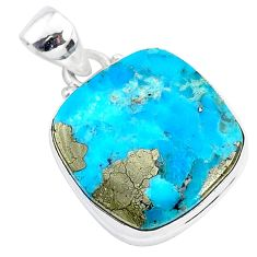 12.68cts blue turquoise pyrite 925 sterling silver pendant jewelry r95230