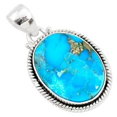 13.60cts blue turquoise pyrite 925 sterling silver pendant jewelry r95232