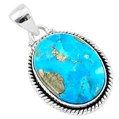 14.23cts blue turquoise pyrite 925 sterling silver pendant jewelry r95233