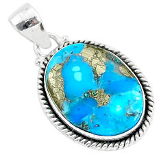 14.42cts blue turquoise pyrite 925 sterling silver pendant jewelry r95234