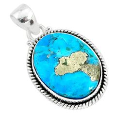15.22cts blue turquoise pyrite 925 sterling silver pendant jewelry r95235