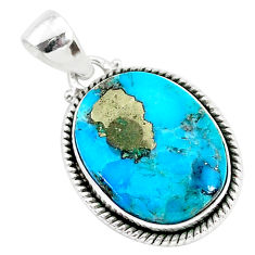 14.70cts blue turquoise pyrite 925 sterling silver pendant jewelry r95238