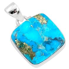 13.22cts blue turquoise pyrite 925 sterling silver pendant jewelry r95242