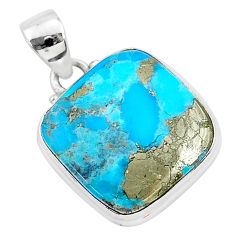 13.73cts blue turquoise pyrite 925 sterling silver pendant jewelry r95243