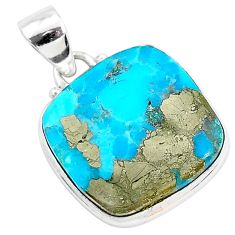 12.72cts blue turquoise pyrite 925 sterling silver pendant jewelry r95244