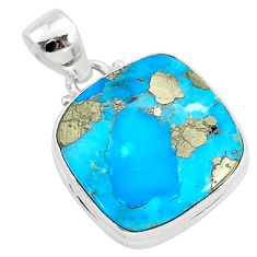 13.60cts blue turquoise pyrite 925 sterling silver pendant jewelry r95249