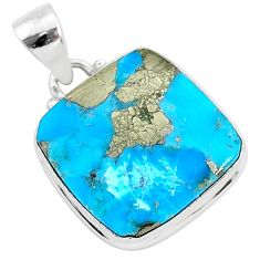 14.18cts blue turquoise pyrite 925 sterling silver pendant jewelry r95251