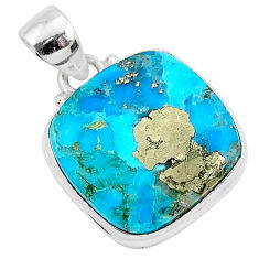 12.68cts blue turquoise pyrite 925 sterling silver pendant jewelry r95254