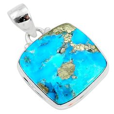 12.70cts blue turquoise pyrite 925 sterling silver pendant jewelry r95255