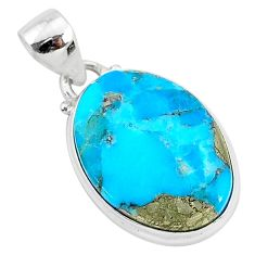 11.17cts blue turquoise pyrite 925 sterling silver pendant jewelry r95260
