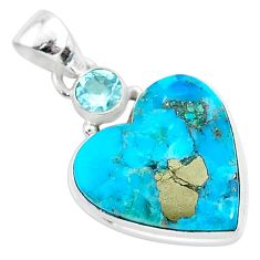 12.72cts blue turquoise pyrite topaz 925 sterling silver pendant jewelry r95261