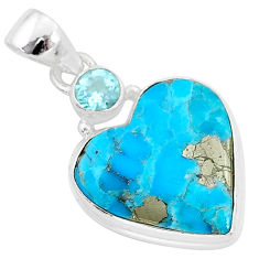 12.20cts blue turquoise pyrite topaz 925 sterling silver pendant jewelry r95263