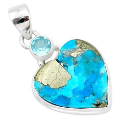 13.20cts blue turquoise pyrite topaz 925 sterling silver pendant jewelry r95268