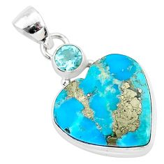 13.20cts blue turquoise pyrite topaz 925 sterling silver pendant jewelry r95270