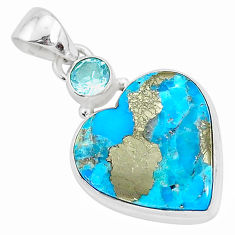 12.93cts blue turquoise pyrite topaz 925 sterling silver pendant jewelry r95271