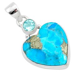 13.15cts blue turquoise pyrite topaz 925 sterling silver pendant jewelry r95275