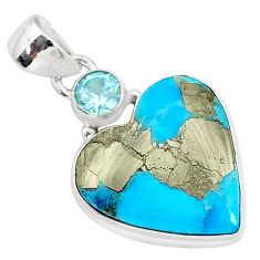 13.45cts blue turquoise pyrite topaz 925 sterling silver pendant jewelry r95277