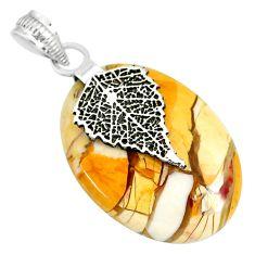 16.77cts brecciated mookaite ( jasper) 925 silver deltoid leaf pendant r91230