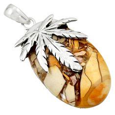 Brecciated mookaite (australian jasper) 925 silver deltoid leaf pendant r44341
