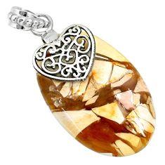 23.14cts brecciated mookaite (australian jasper) 925 silver heart pendant r91225