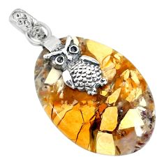 19.87cts brecciated mookaite (australian jasper) 925 silver owl pendant r91233