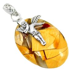 Clearance Sale- Brecciated mookaite (australian jasper) silver angel wings fairy pendant r91238