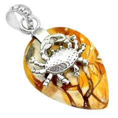 Clearance Sale- 19.81cts brecciated mookaite (australian jasper) silver crab pendant r91234