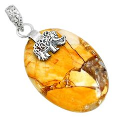 Clearance Sale- 21.09cts brecciated mookaite (australian jasper) silver elephant pendant r91231