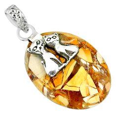 15.64cts brecciated mookaite (australian jasper) silver two cats pendant r91235