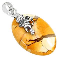 20.16cts brecciated mookaite (jasper) 925 silver cupid wings pendant r91221