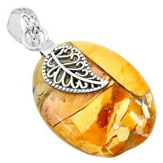 20.77cts brecciated mookaite (jasper) 925 silver deltoid leaf pendant r91223