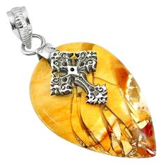 23.10cts brecciated mookaite (jasper) 925 silver holy cross pendant r91224