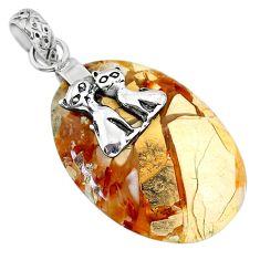 16.80cts brecciated mookaite (jasper) 925 silver two cats pendant r91222